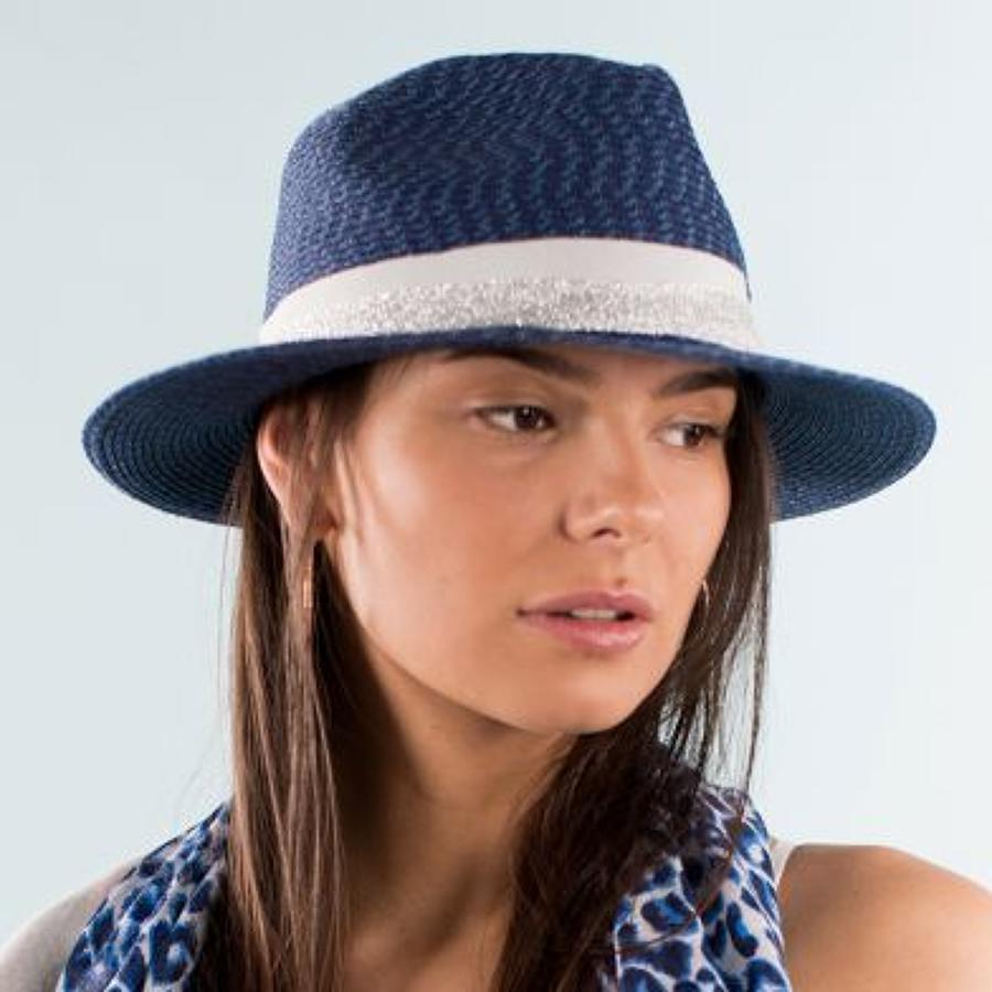 Blue hat with lurex and grey band