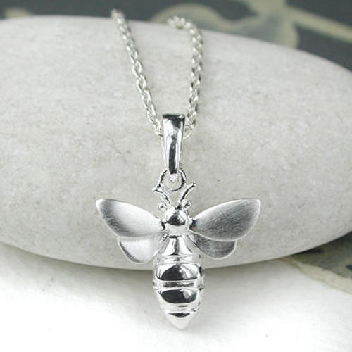 Exquiste stirling silver Bee necklace, brush finish on wings