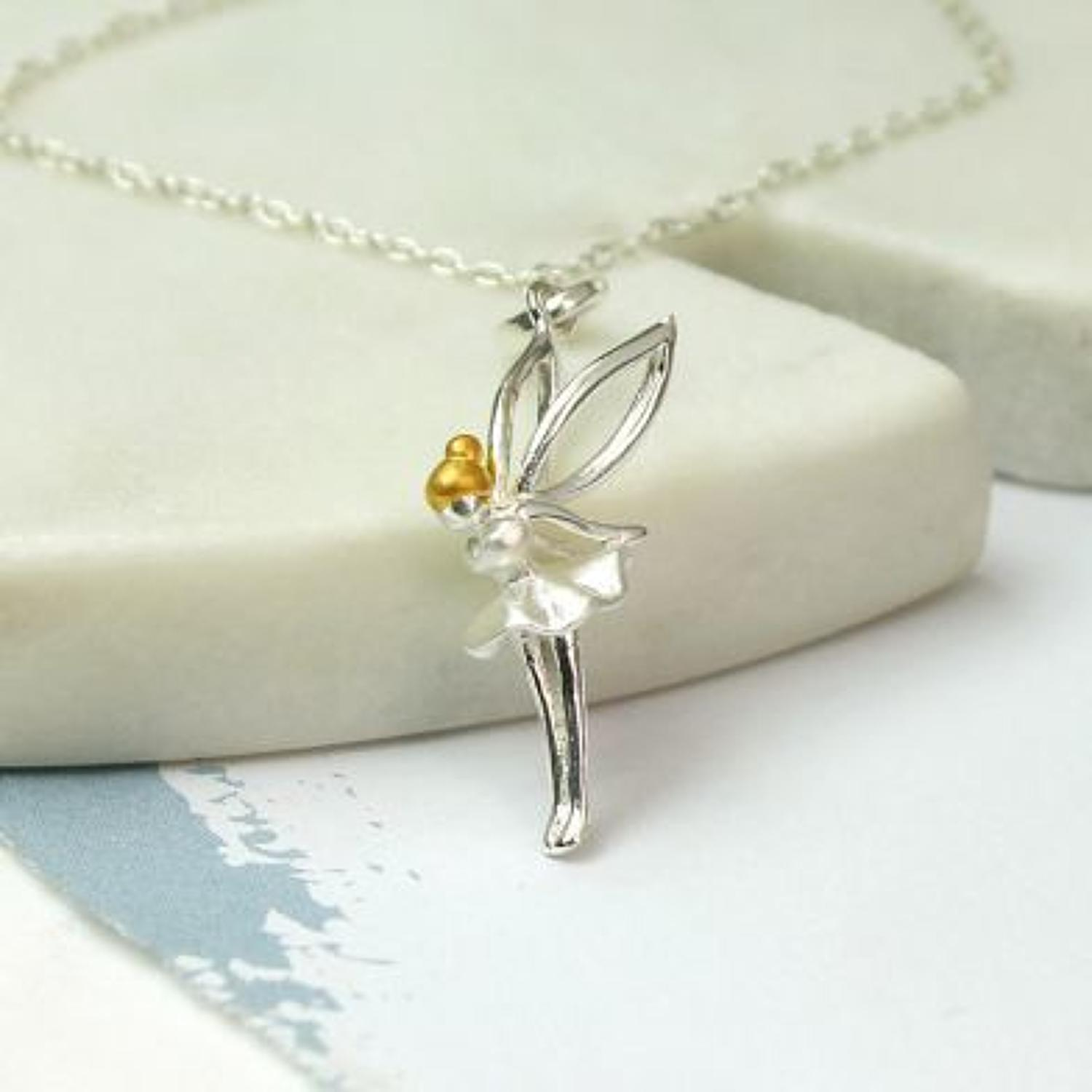 Stirling silver Gold plated Fairy necklace