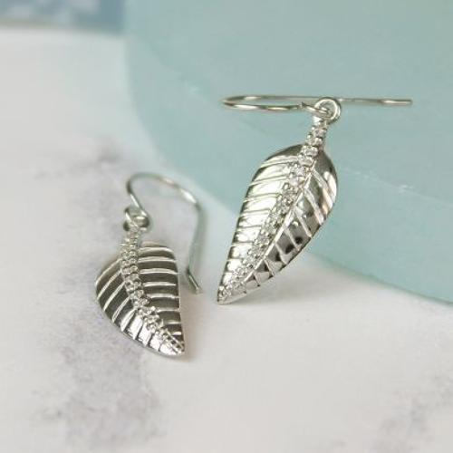 Stirling Silver and Crystal leaf earrings