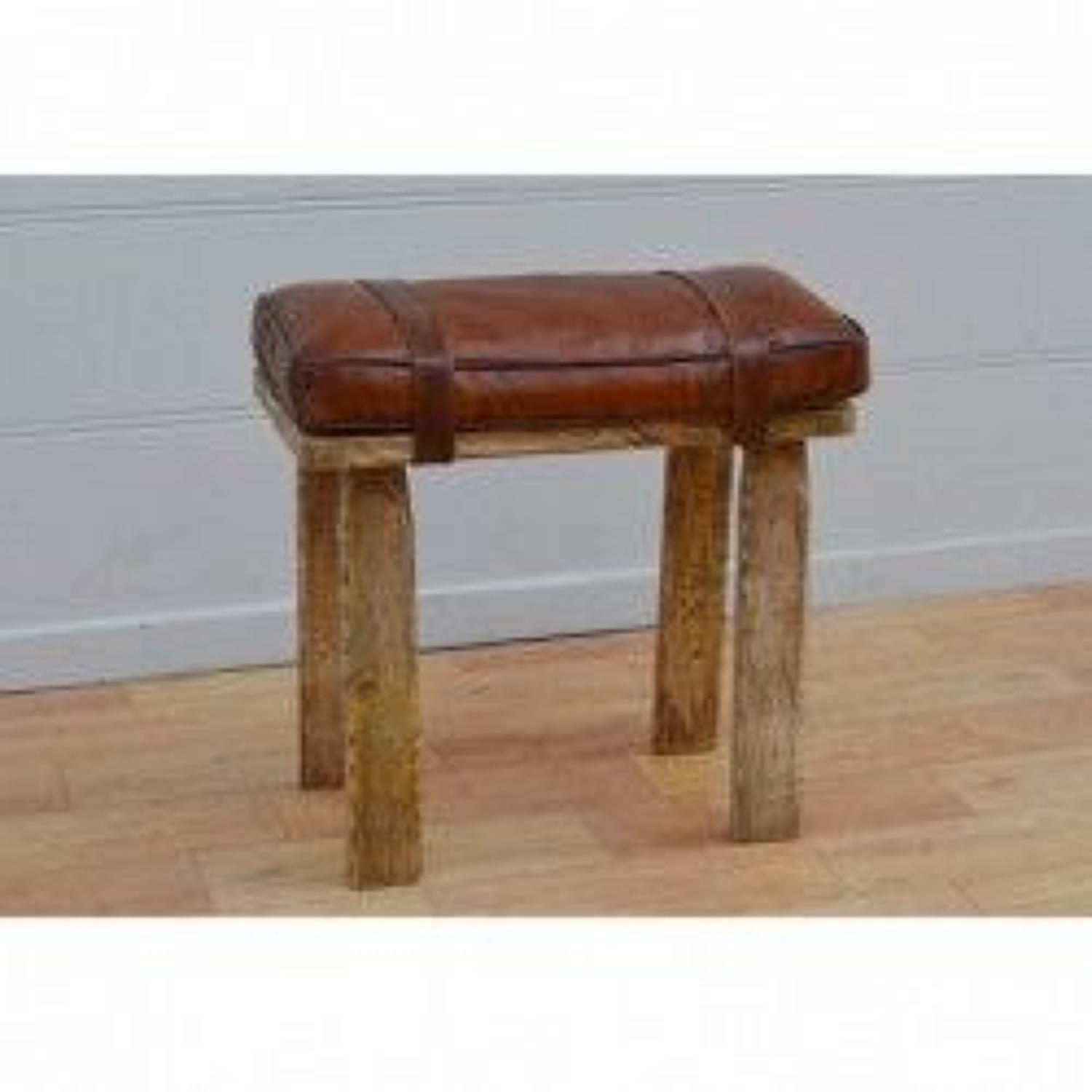 Wooden stool/Bench with leather cushioned seat