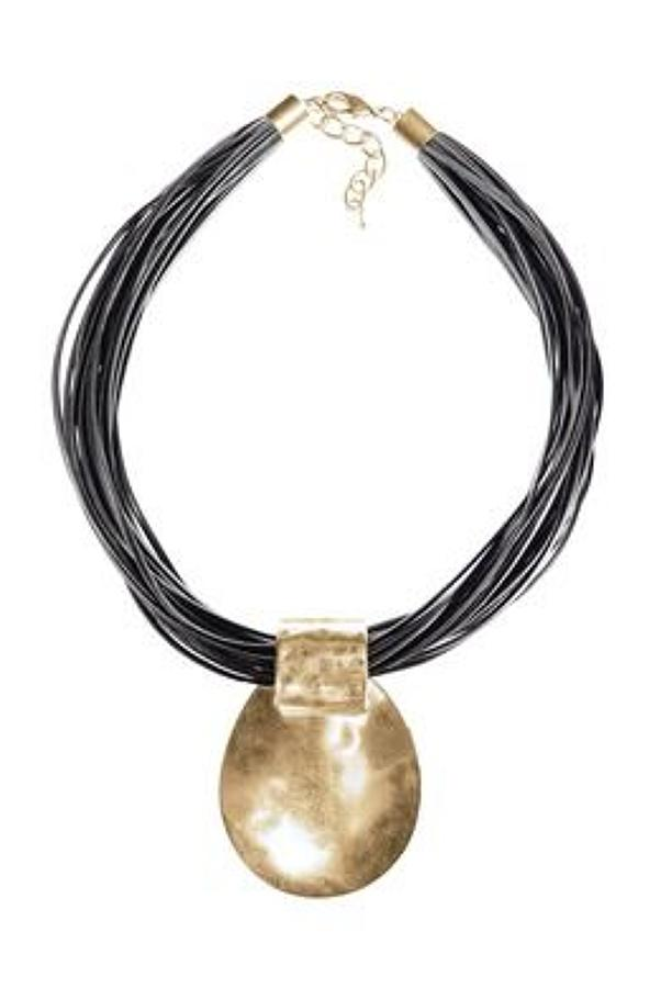 Necklace-Au clair de la lune-worn gold/grey