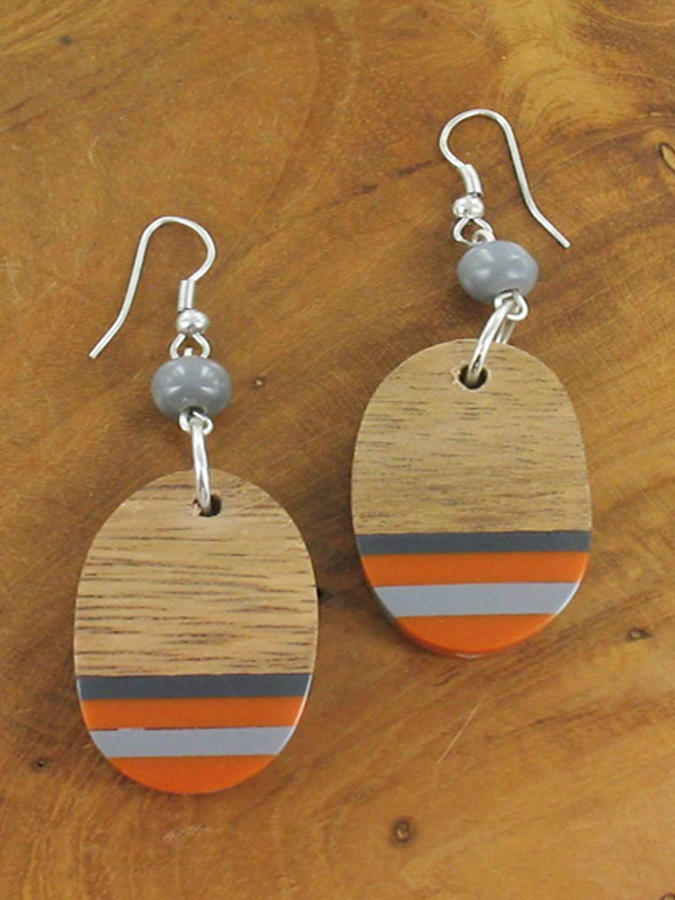 Suzie Blue - Oval resin and wood earrings - orange/grey/wood