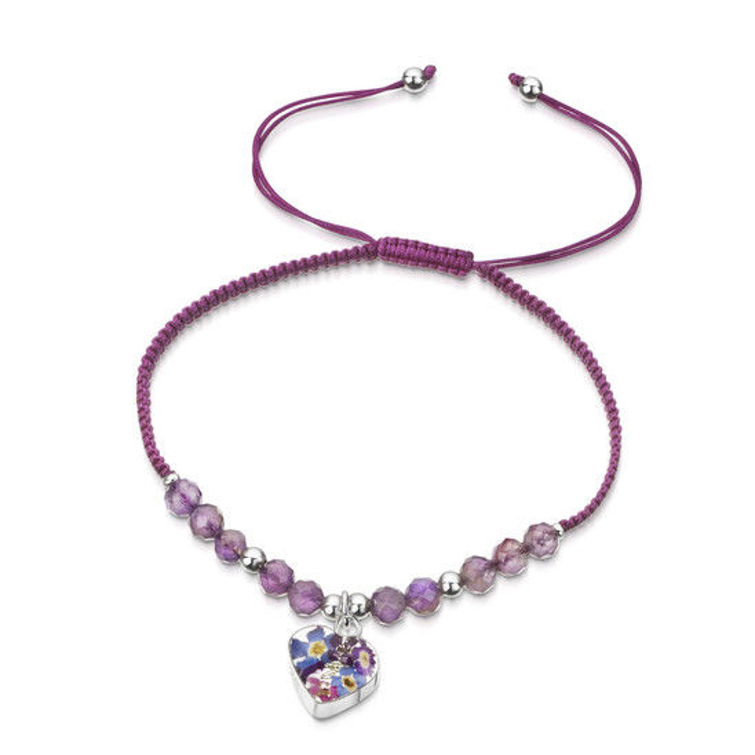 Shrieking Violets-purple nylon & amethyst -purple haze heart