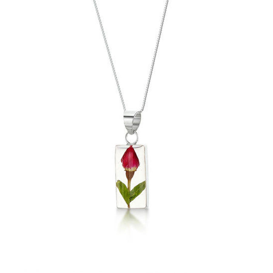 Shrieking Violets-silver pendant - rosebud -rectangle