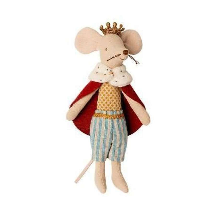 Maileg - king mouse - with crown, removeable faux fur cape & shorts