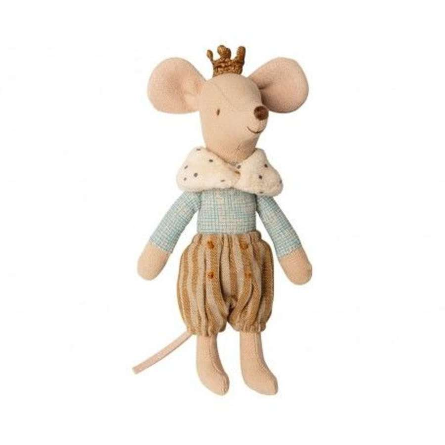 Maileg-Prince mouse with crown ,removeable collar & gold long bloomers