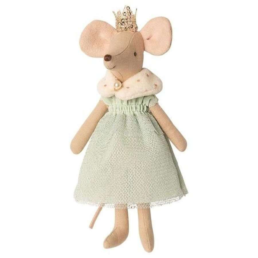 Maileg- Queen mouse- in mint gown ,faux fur cape and crown