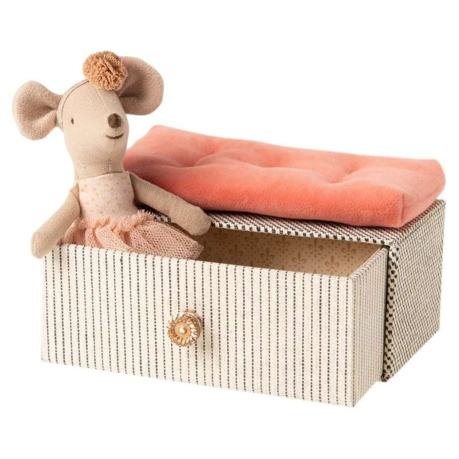 Maileg- dance mouse on day bed-consists of mouse in pink tutu in a box