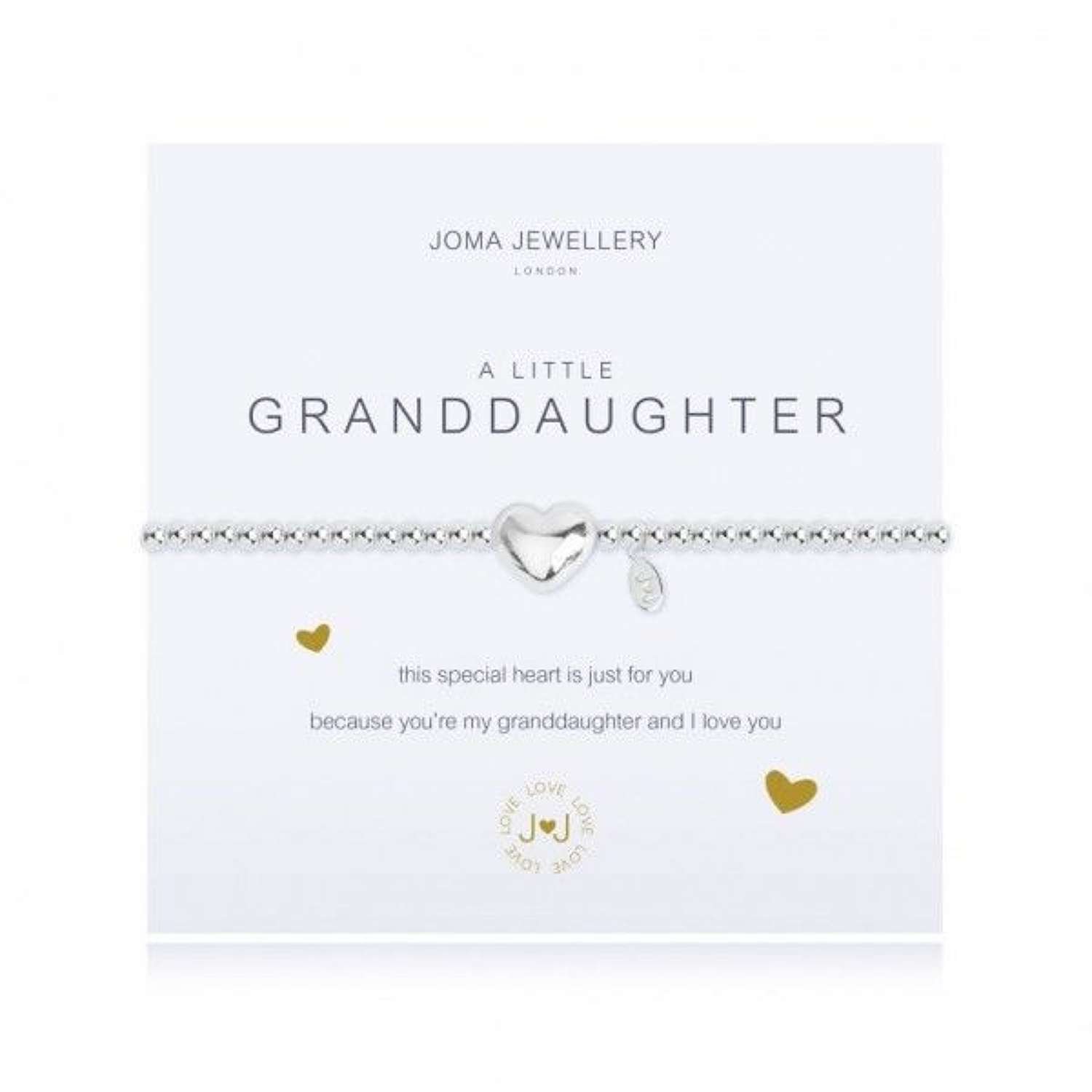Joma Jewellery - A Little- Granddaughter- silver plated heart charm