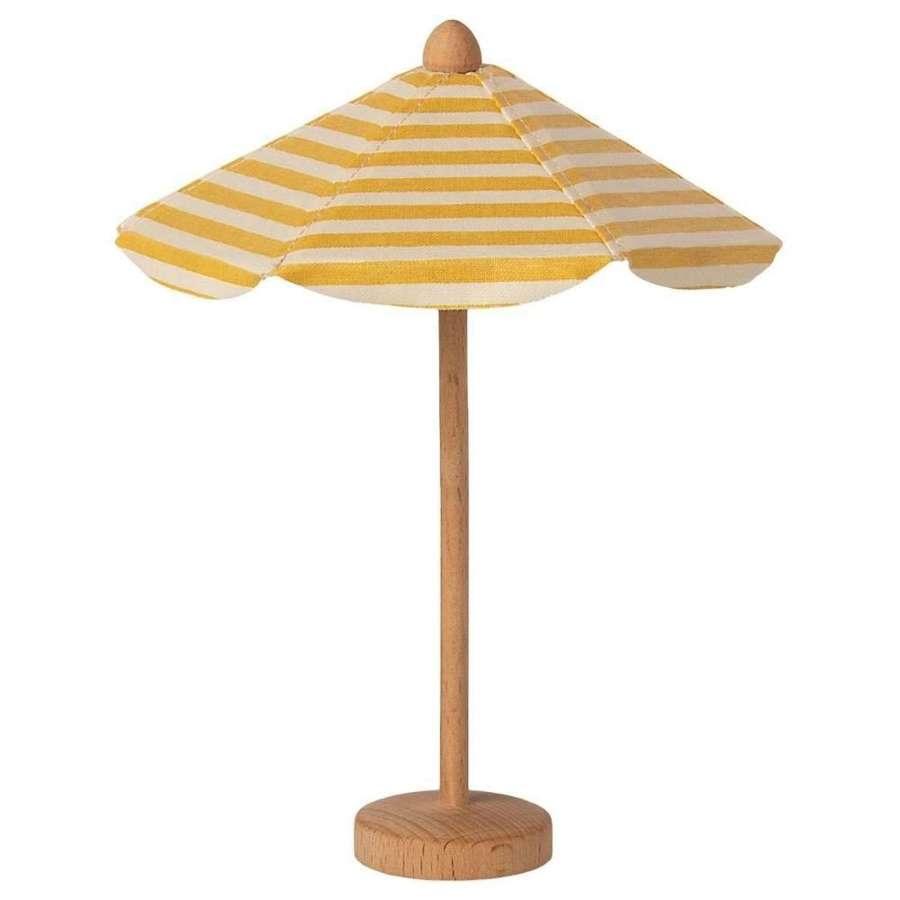 Maileg - Beach umbrella -small umbrella made of fabric with wood stand