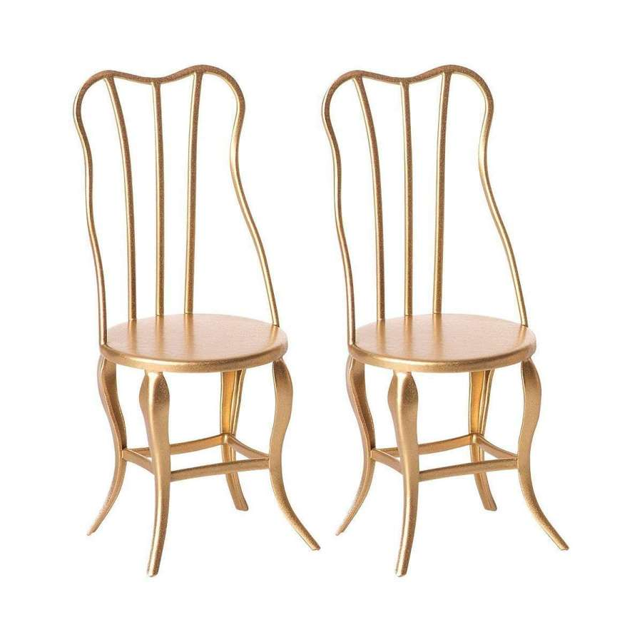 Maileg - Mirco gold chairs x 2 - pair of mirco vintage chairs