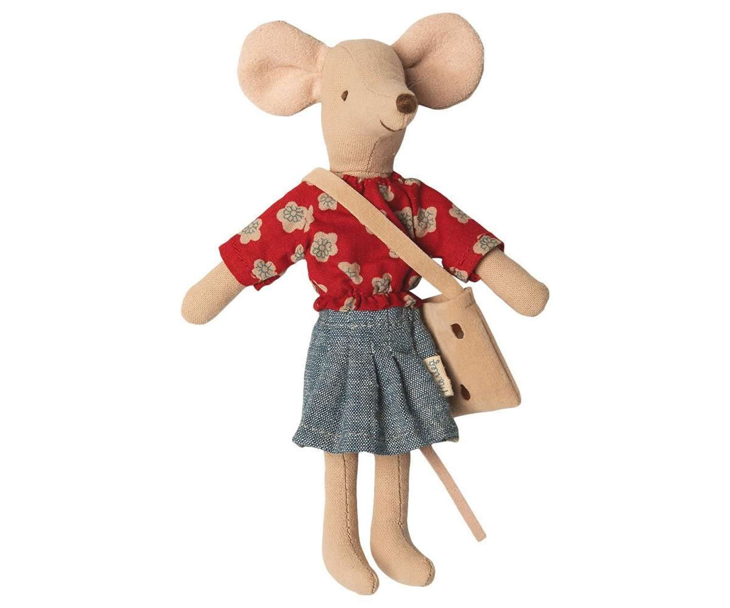 Maileg - Mum mouse - wearing shirt & skirt and bag with cheeseholes