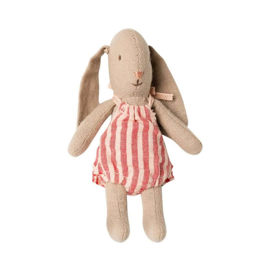 Maileg - micro baby bunny -  in removable red stripe romper suit