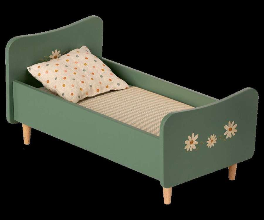 Maileg-wood bed mini mint blue-fits bunnies in size 1 & 2,with bedding