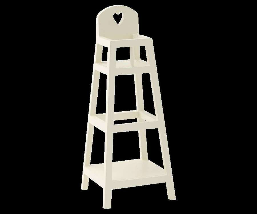 Maileg- white wood high chair - for small mice & rabbits to sit in