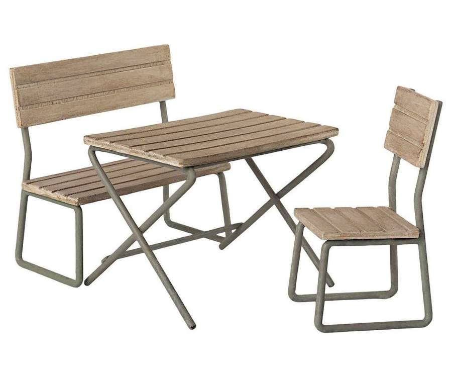 Maileg- garden set - consists of table ,bench, chair in wood & metal