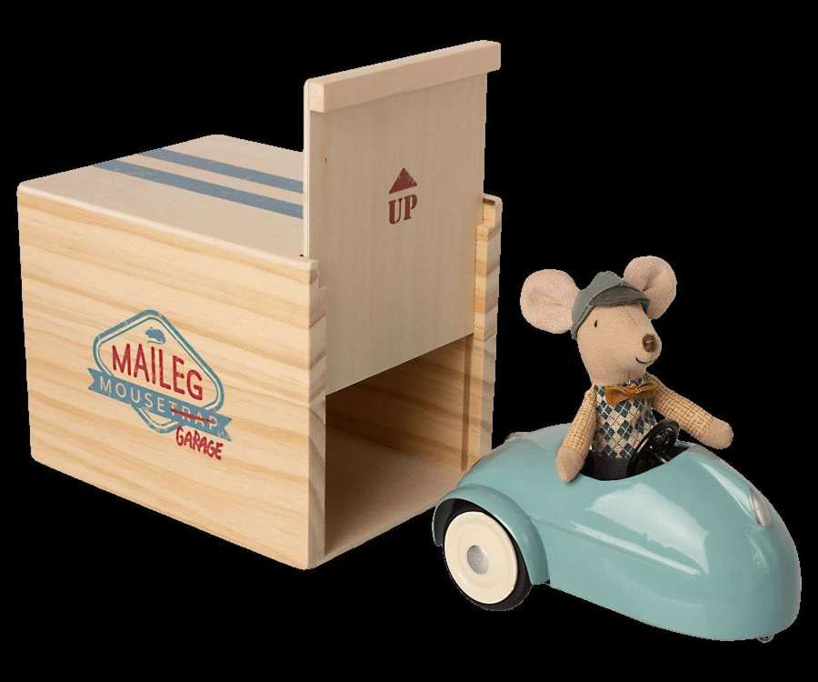Maileg- mouse in car with garage -blue- car is metal, garage is wood
