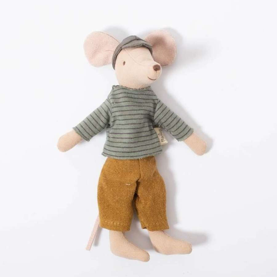 Maileg - dad mouse - drressed in striped sweater & causal trousers