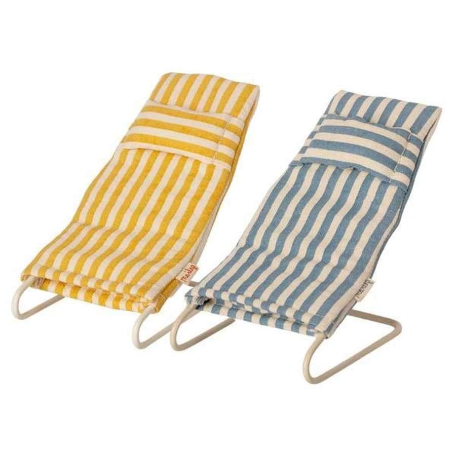 Maileg- Beach chair set -  pair of striped beach chairs