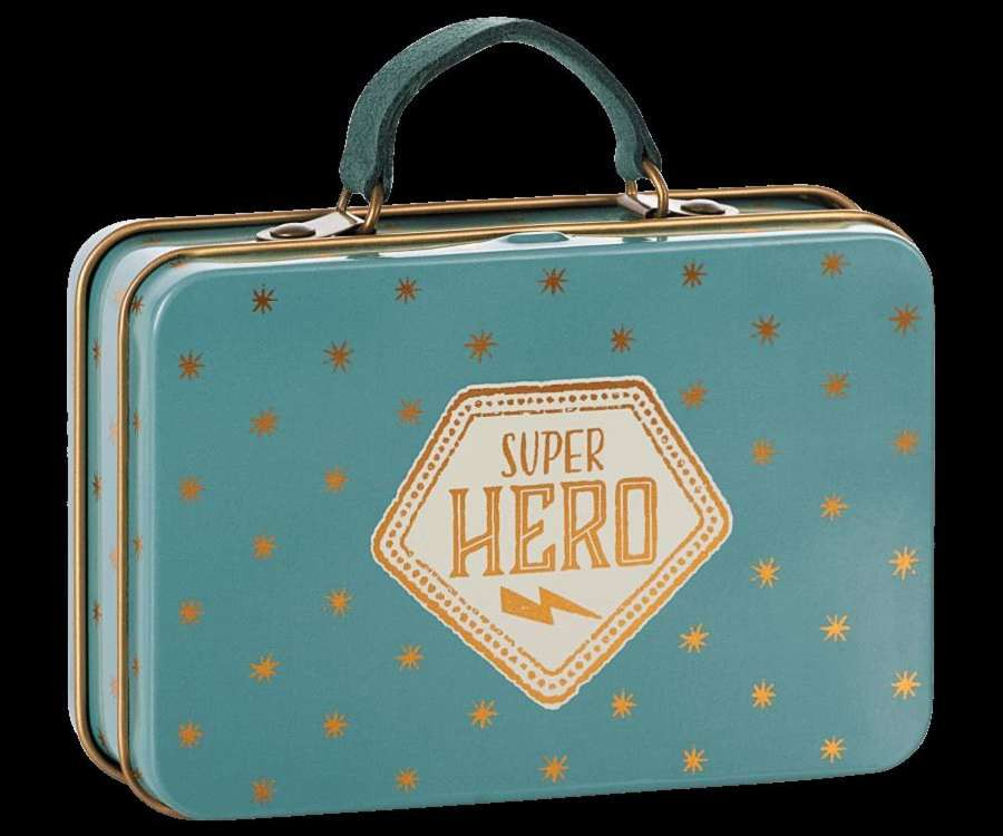 Maileg - blue,gold stars super hero metal suitcase